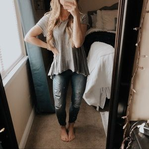 Free People It's Yours Gray Peplum Short Sleeve